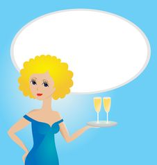 Young Women With Champagne Glasses Royalty Free Stock Photography