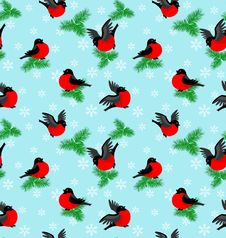Free Winter Pattern With Bullfinches And Fur-trees Stock Photography - 17773372