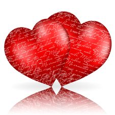 Free Two Red Hearts With Royalty Free Stock Images - 17774179