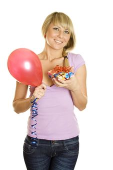 Young Woman With Balloons And Gift Box Royalty Free Stock Photography