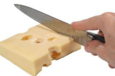Cheese And Knife Stock Photo