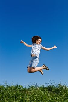 Girl Jumping Outdoor Royalty Free Stock Photo