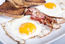Free Breakfast - Toasts, Eggs, Bacon Royalty Free Stock Photos - 17776348
