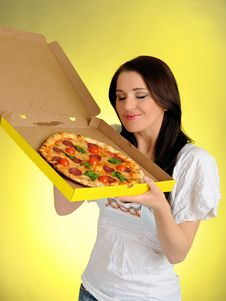 Pretty Casual Girl With Pizza In Delivery Box Stock Images