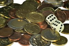 Free Dice And Coins Royalty Free Stock Image - 17777386