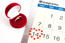 Free Wedding Rings On The Calendar, Valentine S Day Royalty Free Stock Photography - 17777907