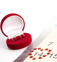 Free Wedding Rings On The Calendar, Valentine S Day Stock Photos - 17777933