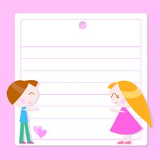 Free Note Paper With Cartoon Kids Stock Photo - 17778610
