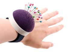 Pincushion On Wrist Stock Images