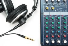 Free Mixing Console And Headphones Royalty Free Stock Photos - 17779588