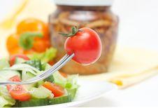 Free Tomato Cherry On Fork. Diet Stock Photos - 17779683