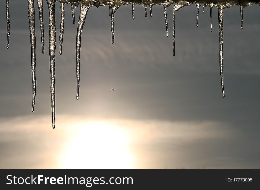 Icicle in blue sky