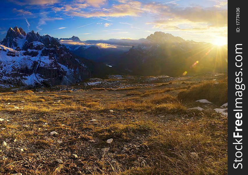 Morning dolomites landscape