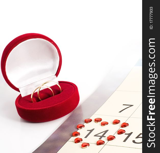 Wedding rings on the calendar, Valentine s Day