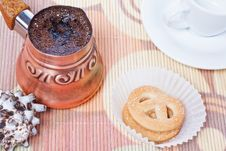 Free Turkish Coffee In Copper Coffee Pot With Cookies Stock Photography - 17780082