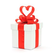 Free Gift Box, Bow And Heart Stock Image - 17780261