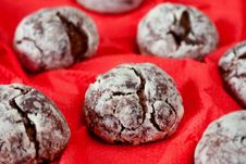 Chocolate Biscuits Covered With Icing Sugar Stock Photos
