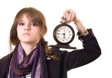 Free Teenage Girl With Old Alarm Clock Stock Photography - 17781252