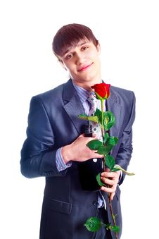 Free Man With A Rose Stock Photos - 17781363