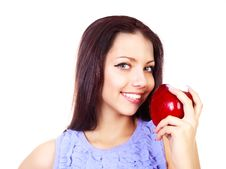Free Girl With An Apple Royalty Free Stock Photo - 17781415