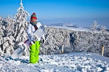 Free Woman With Snowboard Stock Images - 17781704