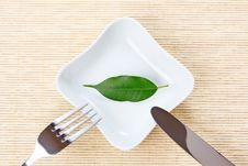 Free Green Leaf On A Plate As Vegetarian Diet Stock Photography - 17781922