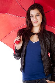 Free Woman Holding Umbrella Slight Smile Royalty Free Stock Image - 17782086