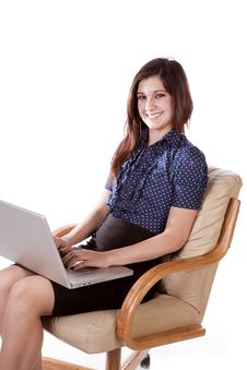 Free Woman Sitting With Laptop And A Smile Royalty Free Stock Photos - 17782158