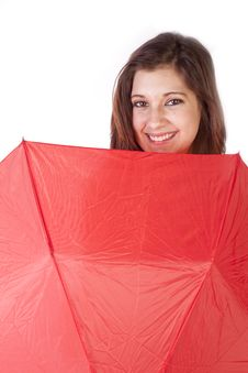 Free Woman Peaking Over Umbrella Smiling Royalty Free Stock Photography - 17782187