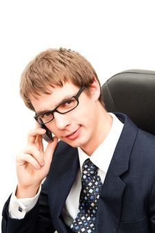 Young Business Men Talking On A Phone Royalty Free Stock Image