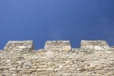 Free Merlons Of An Old Fortress Wall Royalty Free Stock Image - 17782516