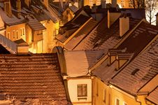 Historic Houses In Cesky Krumlov Stock Photo