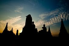 Free Silhouette Of Wat Chaiwattanaram At Sunset Royalty Free Stock Photos - 17783248
