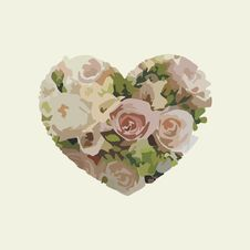 Free Postcard With Floral Heart Stock Images - 17784614