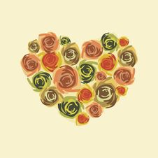 Free Postcard With Floral Heart Stock Images - 17784634