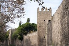 Old Wall And Tower Of Barcelona Stock Photos