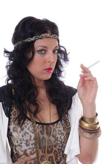 Free Pretty Young Female Isolated With Cigarette Stock Image - 17786771