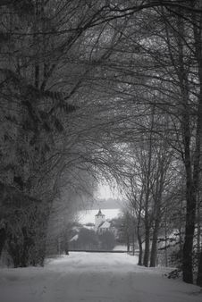 Free View To A Little Church In Winter Stock Photography - 17787402