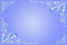 Floral Blue Artistic Frame Royalty Free Stock Photos