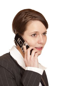 Business Woman Talks On The Telephone Stock Photography