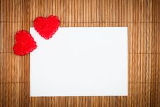 Free Two Red Hearts With Paper Card Stock Photos - 17789463