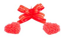 Free Two Red Hearts And Bow Stock Photo - 17789470