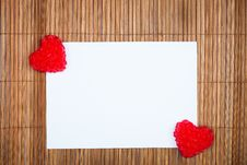 Free Two Red Hearts With Paper Card Royalty Free Stock Photography - 17789477