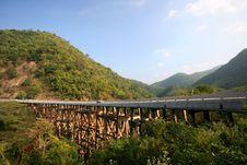 Free Bridge With Wooden Stilt Across The Valley. Stock Image - 17789741