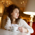 Free Young Woman Enjoying Latte Coffee In Cafe Royalty Free Stock Images - 17798539