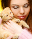 Free Woman With Red England Lop-eared Kitten Royalty Free Stock Photos - 17798638