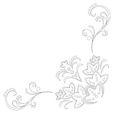 Abstract Floral Pattern, Contour Stock Image