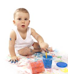 Free Pretty Baby Paint Royalty Free Stock Photo - 17790085