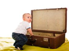 Free Boy With An Old Suitcase Stock Image - 17790581
