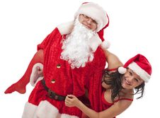 Santa Claus With Sexy Girl Royalty Free Stock Photos